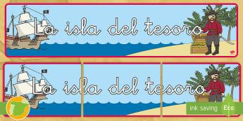 Pancarta: La isla del tesoro - Pirata, piratas, tesoro, tesoros, aventura, aventuras, mar, marítimo, juego, juegos, rol, roles, is