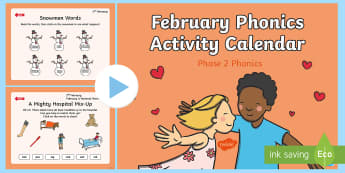 Phase 2 February Phonics Activity Calendar PowerPoint - phonics, calendar, monthly, reading, spelling, sorting, tricky words, letters and sounds, activity,