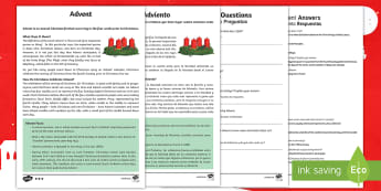 Advent KS2 Differentiated Reading Comprehension Activity English/Spanish - Christmas, Nativity, Jesus, xmas, Xmas, Father Christmas, Santa, EAL,Spanish-translation