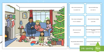 Christmas Morning Scene and Question Cards English/Mandarin Chinese - Christmas morning, scene, questions, cards ,EAL