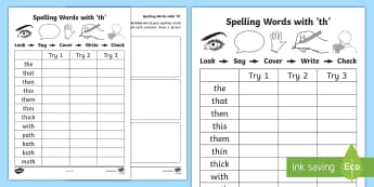 'th' Spelling List Activity Sheets - CVC Words, A, Sounding Out, Look Say Cover Write Check, worksheet, Spelling Homework, ENG 0-12a/LIT