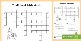 Traditional Irish Musical Instruments Crossword - ROI - St. Patrick's Day Resources, Ireland, trad music, traditional Irish music, instruments, cultu