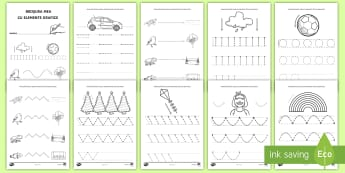 Trasare de linii Fișe de activitate - motricitate fină, elemente grafice, controlul creionului, scriere, început de an școlar,Romanian
