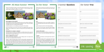 Summer Differentiated Reading Comprehension Activity English/Afrikaans - seasons, weather, facts, questions, seisoene, warm, holiday, EAL