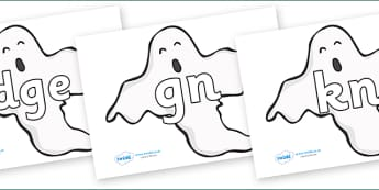 Silent Letters on Ghosts (Plain) - Silent Letters, silent letter, letter blend, consonant, consonants, digraph, trigraph, A-Z letters, literacy, alphabet, letters, alternative sounds