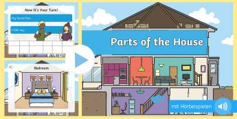 Unser Haus PowerPoint Präsentation - Haus, Wohnung, Räume, Zimmer, Englisch, Aussprache, Wortschatz
