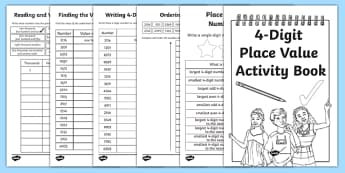 Back to School Place Value Revision of 4-Digit Numbers Activity Booklet