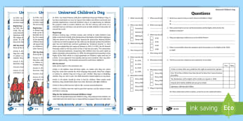 KS2 Universal Children's Day Differentiated Reading Comprehension Activity - UN, Rights of the Child, Welfare, Unicef, Equality
