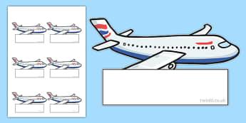 Plane Themed Editable Self-Registration Labels - class, morning, starter, organisation, register, attendance, eyfs, ks1
