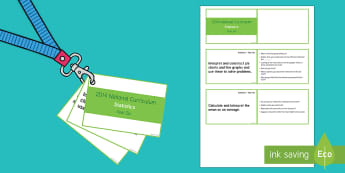 Lanyard Sized Year Six Statistics Objectives Cards - year 6, y6, year six, objectives, statistics, mean, average, calculate mean, pie charts, interpret,