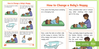 CfE (First) How to change a nappy Step-by-Step Instructions - baby, babies, needs, looking after, parenthood, HWB, caring,Scottish