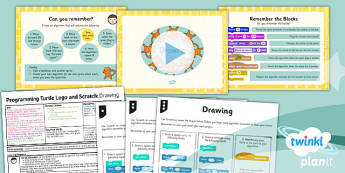 Computing: Programming Turtle logo and Scratch: Drawing Year 3 Lesson Pack 4