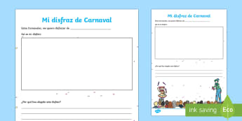 My Carnival Costume Activity Sheet Spanish - Carnival, Spanish, KS2, my costume, activity, sheet, worksheet, festivities, events, Spain, costumes, party, festival