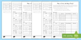 Plan a Cinco de Mayo Party Math Worksheet - Cinco de Mayo, Math, Party Planning, Addition, Subtraction, Multiplication, Money, Measurement, Work