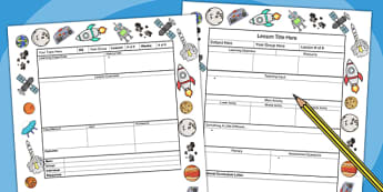 Space Themed Editable Individual Lesson Plan Template - plans