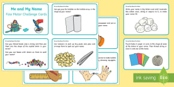 KS1 Me and My Name Fine Motor Skills Challenge Cards - KS1, Me and My Name, handwriting, practise, writing, letters, formation, lower case, upper case, cap