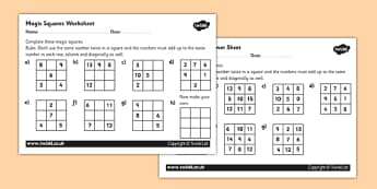 Magic Squares Activity Sheet - magic squares worksheet, magic squares, magic number squares, magic squares number puzzles, ks2 numeracy worksheets, ks2 maths