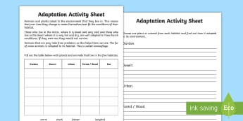 Adaptation Worksheet - adaption, adaption information worksheet, animals that adapt, adapting, environments, environments worksheet, ks2 science worksheet