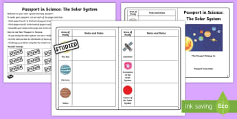 Passport in Science: The Solar System Checklist - planets, space project, space, The Sun, Comets, Dwarf Planets