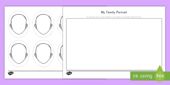 My Family Portrait Cut and Paste Activity Sheet - cut and paste, family, draw, fine motor skills,