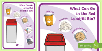 What Can Go In The Red Landfill Bin? Display Poster - tidy kiwi, New Zealand, rubbish, recycling, Years 1-6, red bin, landfill