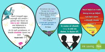 Reading Corner Quotes Balloons Display Pack Gaeilge - Comharthaí Ranga, Classroom Signs, Leabharlann, Library, Cúinne Léimh, Reading Corner, Ag Léamh,