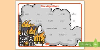 Fire Adjectives Word Mat