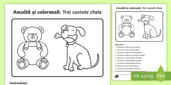 3 cuvinte cheie: Ascultă și colorează Fișă de activitate - comunicare, motricitate fină, ascultare, română, mesaj oral,Romanian