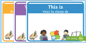 Editable Class Welcome Signs English/French - French-translation, classroom welcome signs, bienvenue en, welcome to