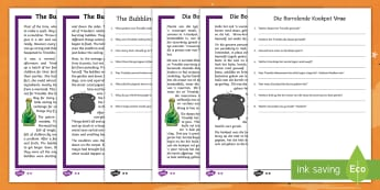 The Bubbling Cauldron Differentiated Reading Comprehension Activity English/Afrikaans - October, questions, Oktober, vrae,beantwoord, EAL