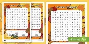 Chwilair Yr Hydref   - chwilair, Hydref, iaith, Cymraeg, wordsearch, Autumn, Welsh,,Welsh