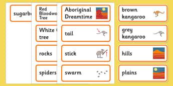 Aboriginal Dreamtime How the Kangaroos Got Their Tails Word Cards - australia, aboriginal, dreamtime, how the kangaroos got their tails, word cards