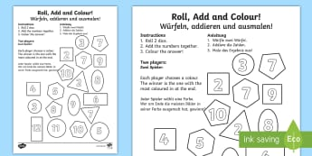 2D Shapes Roll and Colour Dice Addition Activity English/German - German, EAL, 2D, shapes, shpes, 2d shaes, +, 2Dshape, adition,