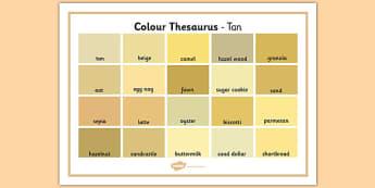 Colour Thesaurus Word Mat Tan - colour thesaurus, colour, thesaurus, word mat, word, mat, tan