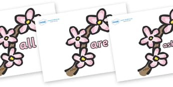 Tricky Words on Spring Blossom - Tricky words, DfES Letters and Sounds, Letters and sounds, display, words