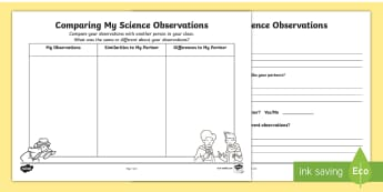 Comparing My Science Observations Activity Sheets - ACSIS213, ACSIS041, Science Inquiry Skills, evaluating, observing,Australia, worksheets