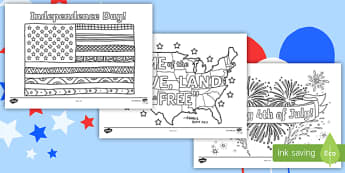 Independence Day Coloring Pages - Independence Day, 4th July, July 4th, American Independence, Fireworks, Star-Spangled Banner