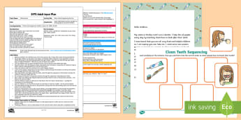 EYFS Clean Teeth Sequencing Activity Adult Input Plan and Resource Pack - EYFS, Early Years Planning, Orders and Sequences Familiar Events, maths, mathematics, 40-60, adult l