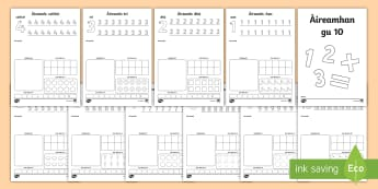 Aireamhan gu 10  Number Activity Sheet - numbers, numbers to 10, activity sheets, number formation, recognition, counting,Scottish