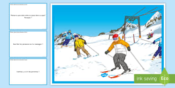 Winter Sports Scene Question Cards French - speaking, gCSE, exam. practise, starter, plenary, jeux,  olympiques,French