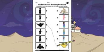 Aladdin Shadow Matching Worksheet - aladdin, shadow, matching