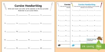 Cursive Handwriting Assessment Activity Sheet - Handwriting, cursive, assessment, alphabet, letter formation,Irish, Worksheet