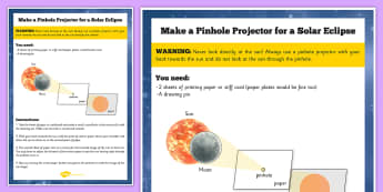 Solar Eclipse Pinhole Projector Instructions - space, science