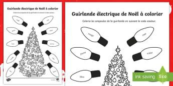 Feuilles de coloriage : La guirlande de Noël - Colouring Page, French, tree, colours, lights