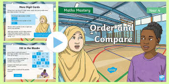 Year 4 Order and Compare Maths Mastery PowerPoint - Reasoning, Greater Depth, Abstract, Modelling, Representation, Problem Solving, Explanation