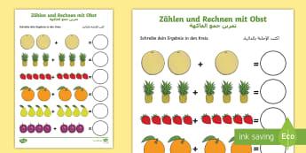 Deutsch-Arabische Zählen und Rechnen mit Obst Arbeitsblatt: Erstes Rechnen (Addieren) - Arabisch, Addition, plus, Frucht, Früchte,German