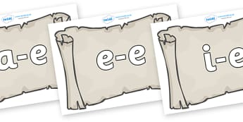 Modifying E Letters on Scrolls - Modifying E, letters, modify, Phase 5, Phase five, alternative spellings for phonemes, DfES letters and Sounds