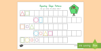 Repeating Pattern (Shapes) Activity Sheet - New Zealand, Maths, Strand, Shapes, Patterns, Worksheets