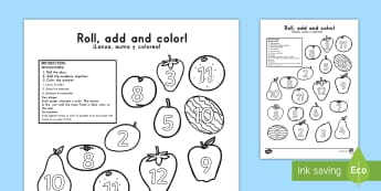 Fruit Roll the Dice and Color US English/Spanish (Latin) - Fruit Roll and Color Three Dice Addition Activity - fruit, roll, color, +, adition, additon
