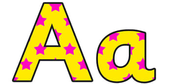 Yellow and Pink Stars Small Upper and Lowercase Display Lettering - stars display lettering, lowercase display lettering, uppercase display lettering